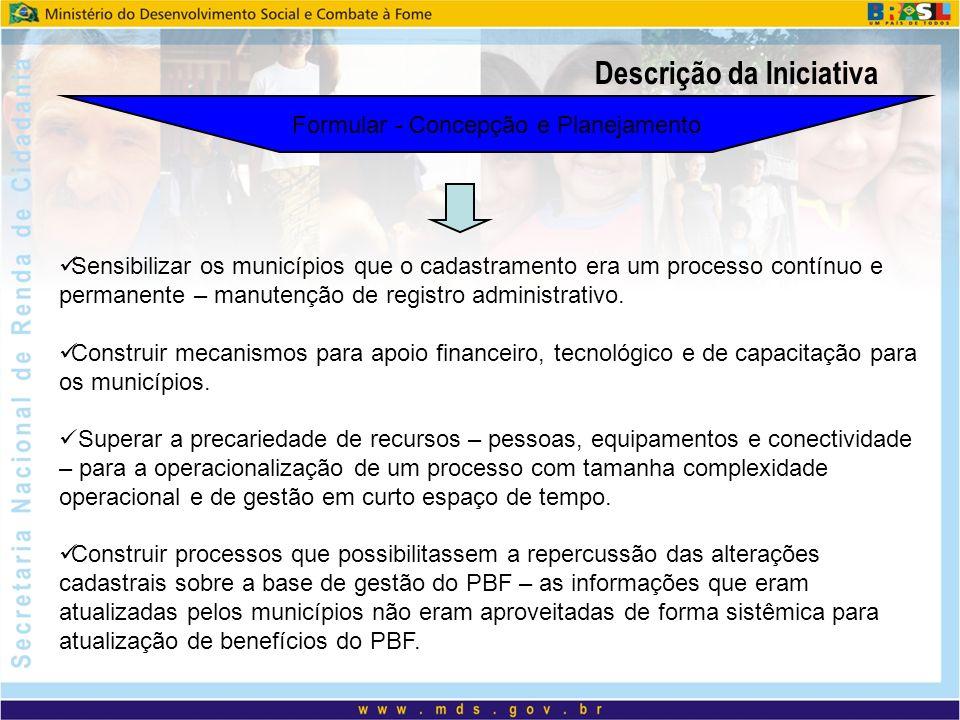Descrição da Iniciativa Formular - Concepção e Planejamento Sensibilizar os municípios que o cadastramento era um processo contínuo e permanente – manutenção de registro administrativo.