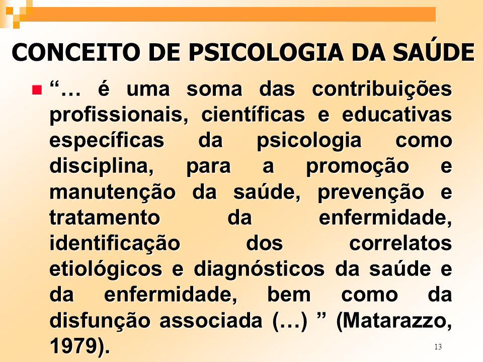 13 CONCEITO DE PSICOLOGIA DA SAÚDE n … é uma soma das contribuições profissionais, científicas e educativas específicas da psicologia como disciplina,
