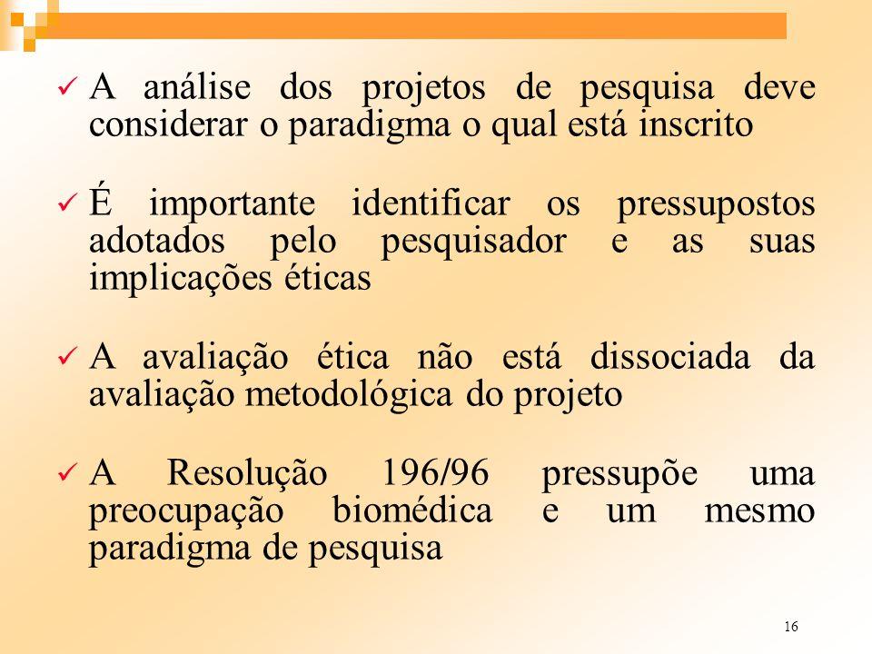 16 A análise dos projetos de pesquisa deve considerar o paradigma o qual está inscrito É importante identificar os pressupostos adotados pelo pesquisa