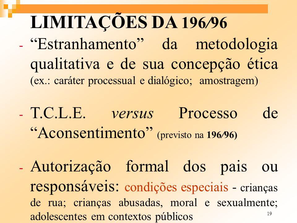 19 LIMITAÇÕES DA 196/96 - Estranhamento da metodologia qualitativa e de sua concepção ética (ex.: caráter processual e dialógico; amostragem) - T.C.L.