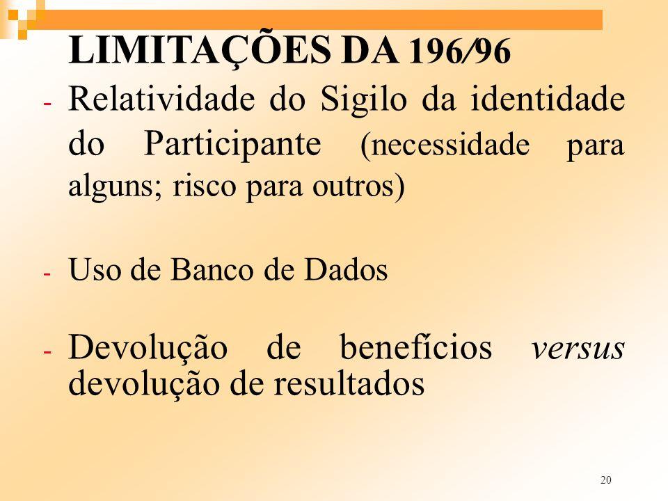 20 LIMITAÇÕES DA 196/96 - Relatividade do Sigilo da identidade do Participante (necessidade para alguns; risco para outros) - Uso de Banco de Dados -