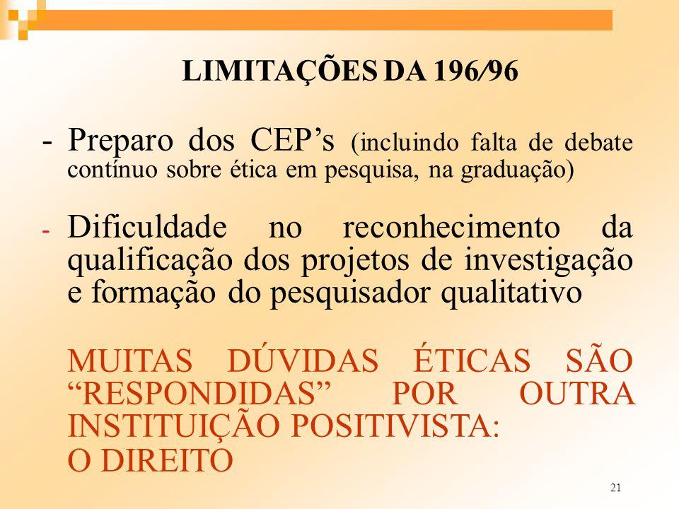 21 LIMITAÇÕES DA 196/96 - Preparo dos CEPs (incluindo falta de debate contínuo sobre ética em pesquisa, na graduação) - Dificuldade no reconhecimento