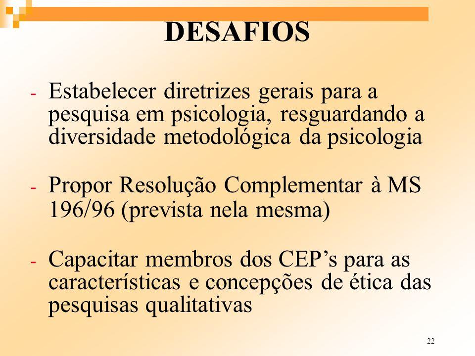 22 DESAFIOS - Estabelecer diretrizes gerais para a pesquisa em psicologia, resguardando a diversidade metodológica da psicologia - Propor Resolução Co