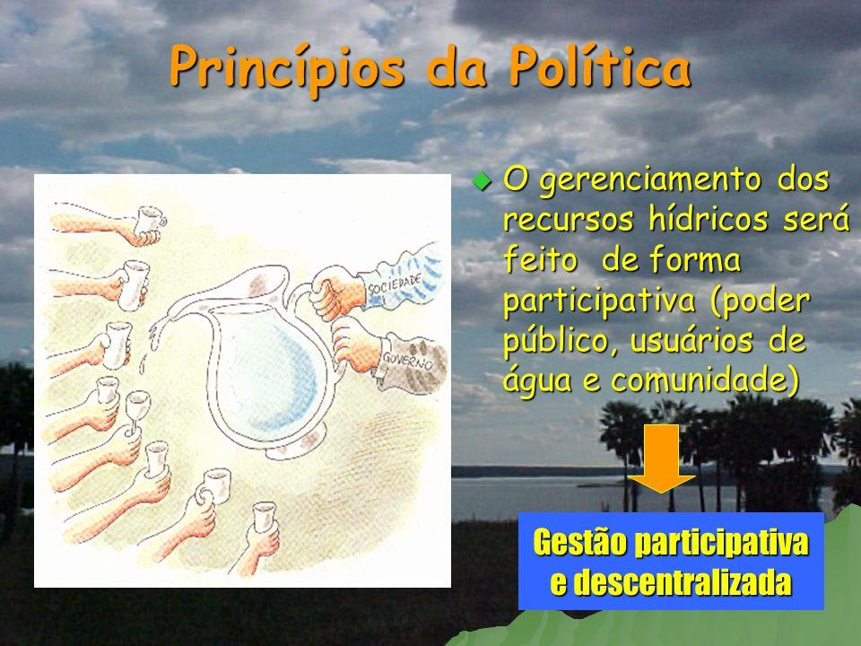 Princípios da Política O gerenciamento dos recursos hídricos será feito de forma participativa (poder público, usuários de água e comunidade) O gerenc