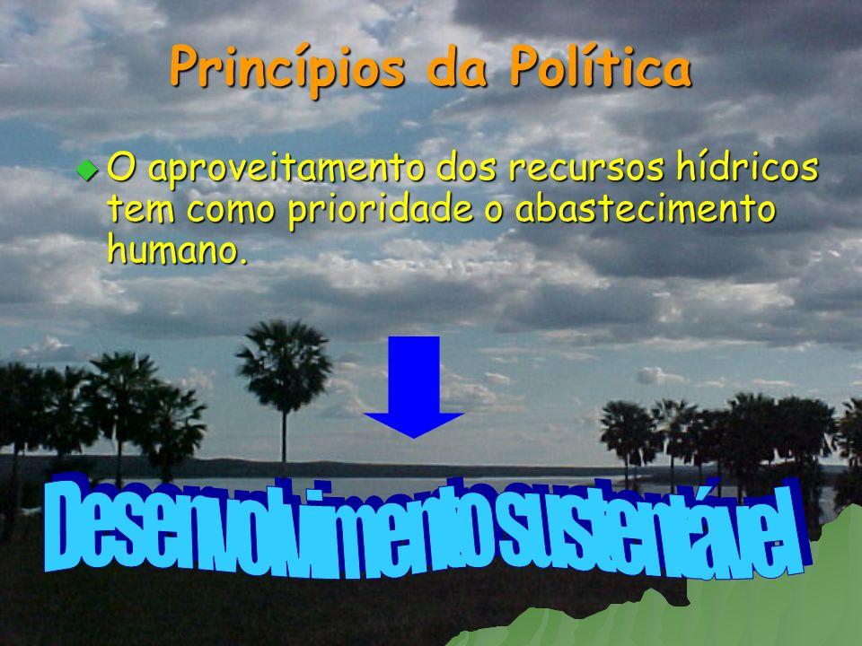 Princípios da Política O aproveitamento dos recursos hídricos tem como prioridade o abastecimento humano. O aproveitamento dos recursos hídricos tem c
