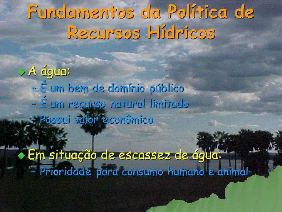 Fundamentos da Política de Recursos Hídricos A água: A água: –É um bem de domínio público –É um recurso natural limitado –Possui valor econômico Em si