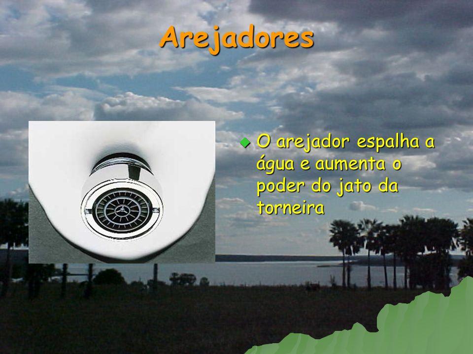 Arejadores O arejador espalha a água e aumenta o poder do jato da torneira O arejador espalha a água e aumenta o poder do jato da torneira