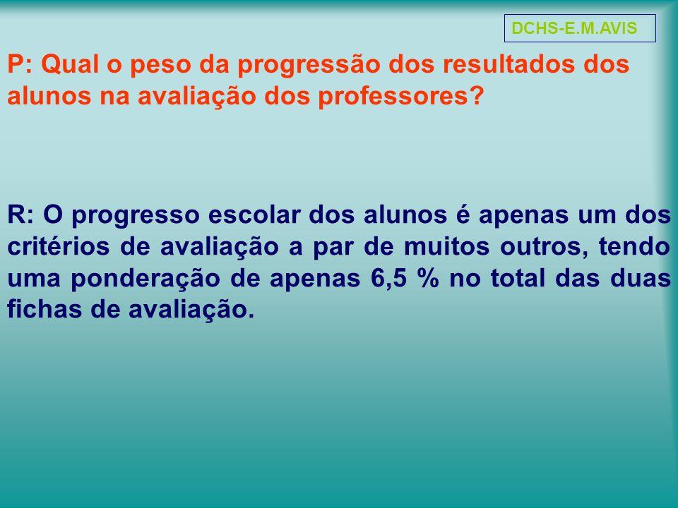 P: Qual o peso da progressão dos resultados dos alunos na avaliação dos professores? R: O progresso escolar dos alunos é apenas um dos critérios de av