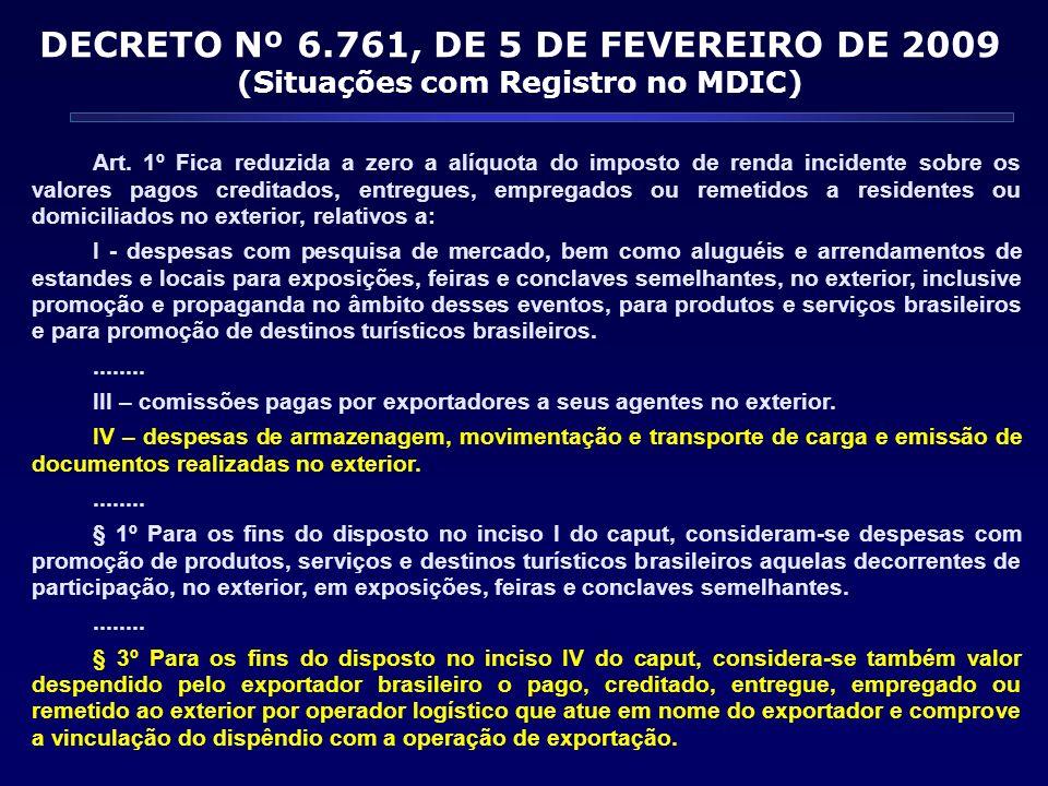 Art. 1º Fica reduzida a zero a alíquota do imposto de renda incidente sobre os valores pagos creditados, entregues, empregados ou remetidos a resident