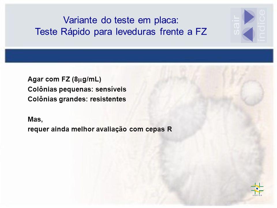 Variante do teste em placa: Teste Rápido para leveduras frente a FZ Agar com FZ (8 g/mL) Colônias pequenas: sensíveis Colônias grandes: resistentes Ma