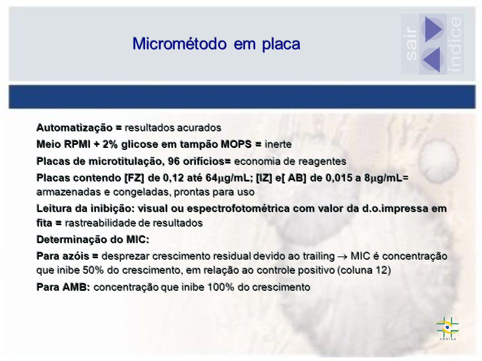 Automatização = resultados acurados Meio RPMI + 2% glicose em tampão MOPS = inerte Placas de microtitulação, 96 orifícios= economia de reagentes Placa