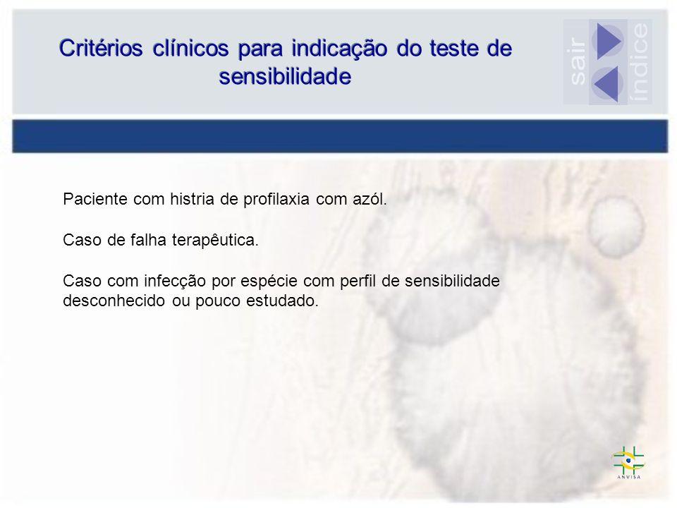 Critérios clínicos para indicação do teste de sensibilidade Paciente com histria de profilaxia com azól. Caso de falha terapêutica. Caso com infecção