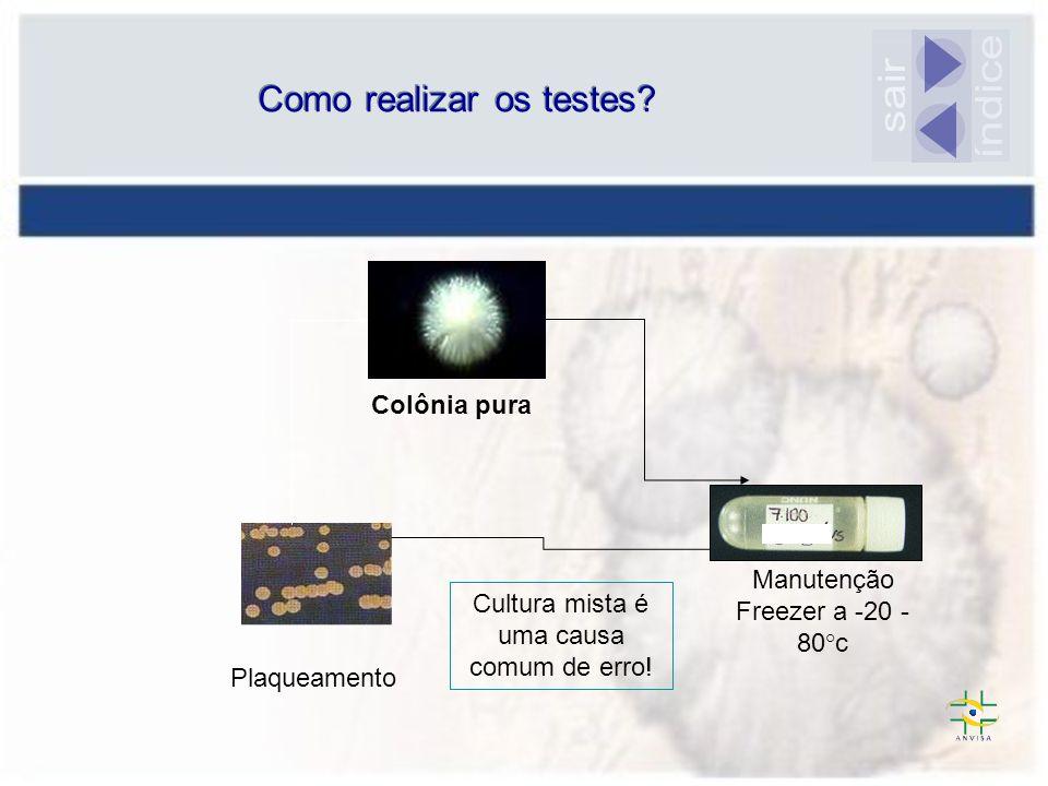 Suspensão de células do fungo Solução- padrão= 10 6 ufc/mL Comparação para ajuste de turbidez: espectrofotômetro ou visual = INÓCULO Como realizar os testes.