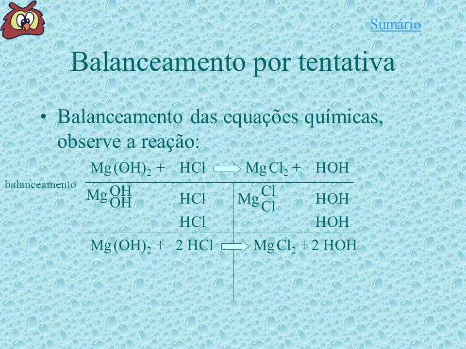 Balanceamento por tentativa Balanceamento das equações químicas, observe a reação: Mg(OH) 2 HClMgOHCl 2 H++ balanceamento Mg Cl H H OH H H Mg(OH) 2 HClMgOHCl 2 H++22 Sumário