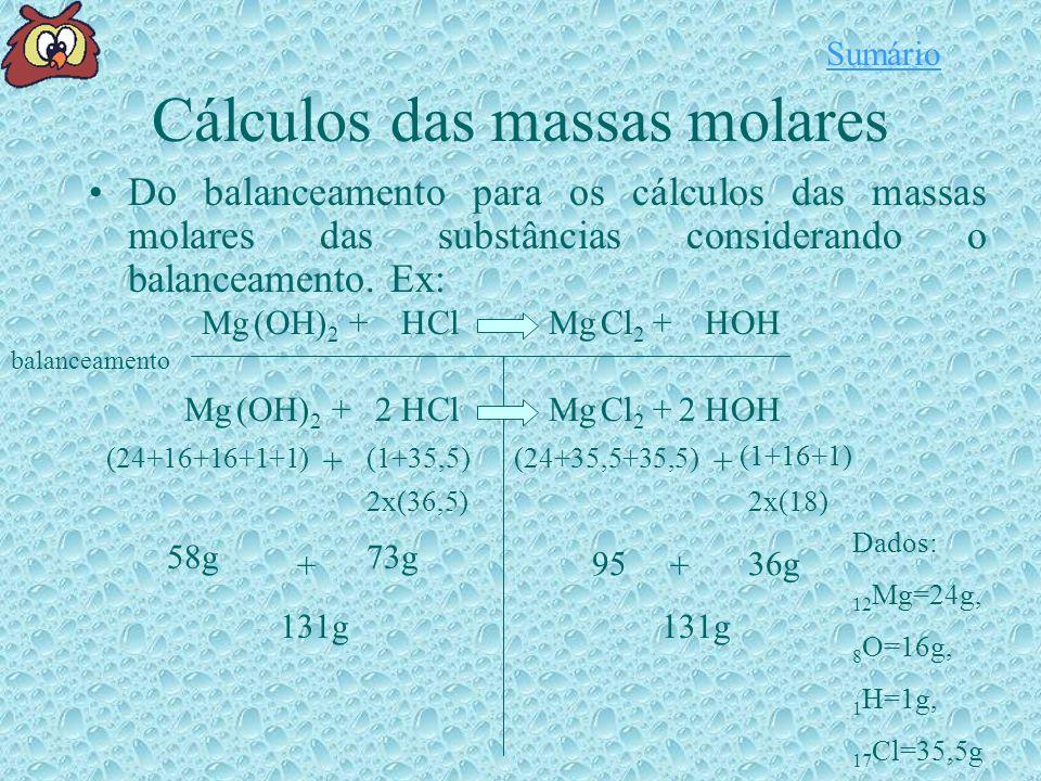 Cálculos das massas molares Do balanceamento para os cálculos das massas molares das substâncias considerando o balanceamento.