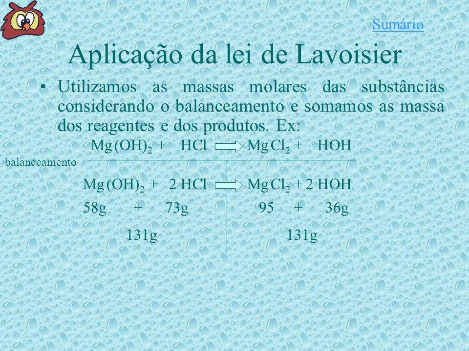 Aplicação da lei de Lavoisier Utilizamos as massas molares das substâncias considerando o balanceamento e somamos as massa dos reagentes e dos produtos.