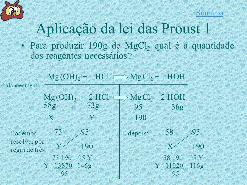 Aplicação da lei das Proust 1 Para produzir 190g de MgCl 2, qual é a quantidade dos reagentes necessários .