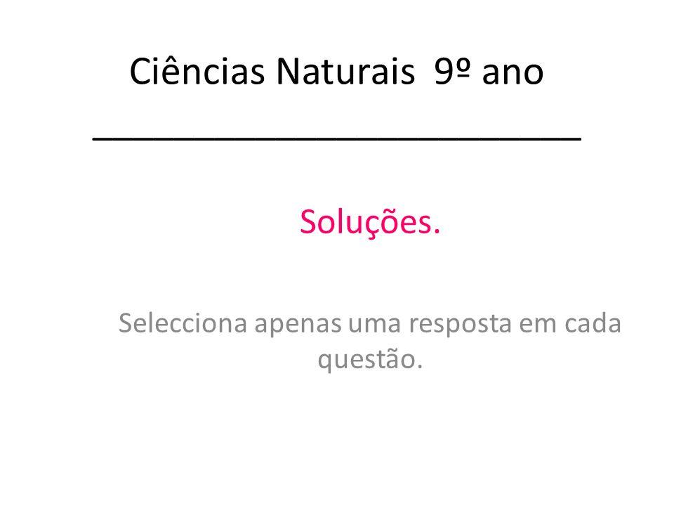 Ciências Naturais 9º ano ________________________ Soluções. Selecciona apenas uma resposta em cada questão.
