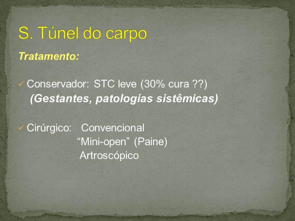 Tratamento: Conservador: STC leve (30% cura ??) (Gestantes, patologias sistêmicas) Cirúrgico: Convencional Mini-open (Paine) Artroscópico