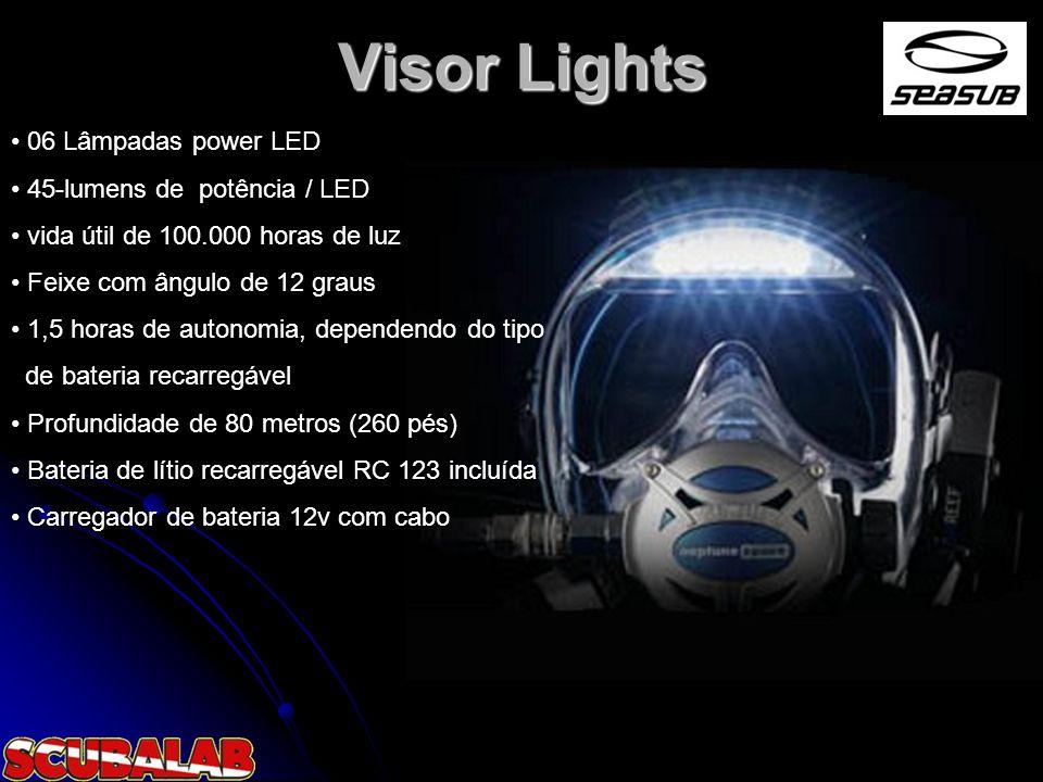 Visor Lights 06 Lâmpadas power LED 45-lumens de potência / LED vida útil de 100.000 horas de luz Feixe com ângulo de 12 graus 1,5 horas de autonomia,