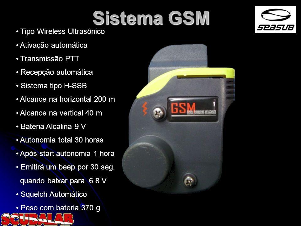 Sistema GSM Tipo Wireless Ultrasônico Ativação automática Transmissão PTT Recepção automática Sistema tipo H-SSB Alcance na horizontal 200 m Alcance n