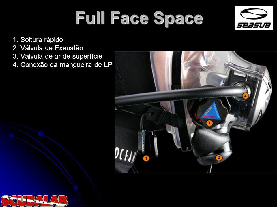 Full Face Space 1. Soltura rápido 2. Válvula de Exaustão 3. Válvula de ar de superfície 4. Conexão da mangueira de LP