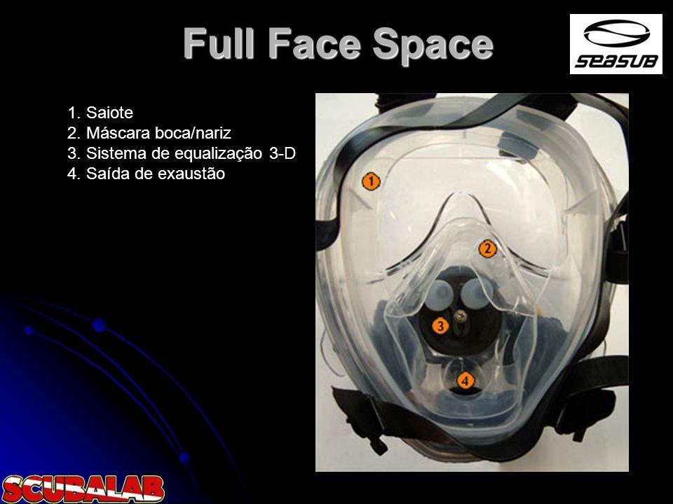 Full Face Space 1. Saiote 2. Máscara boca/nariz 3. Sistema de equalização 3-D 4. Saída de exaustão