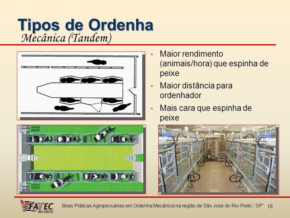 Tipos de Ordenha Mecânica (Tandem) Maior rendimento (animais/hora) que espinha de peixe Maior distância para ordenhador Mais cara que espinha de peixe