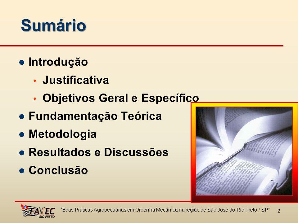 2 Sumário Introdução Justificativa Objetivos Geral e Específico Fundamentação Teórica Metodologia Resultados e Discussões Conclusão Boas Práticas Agro