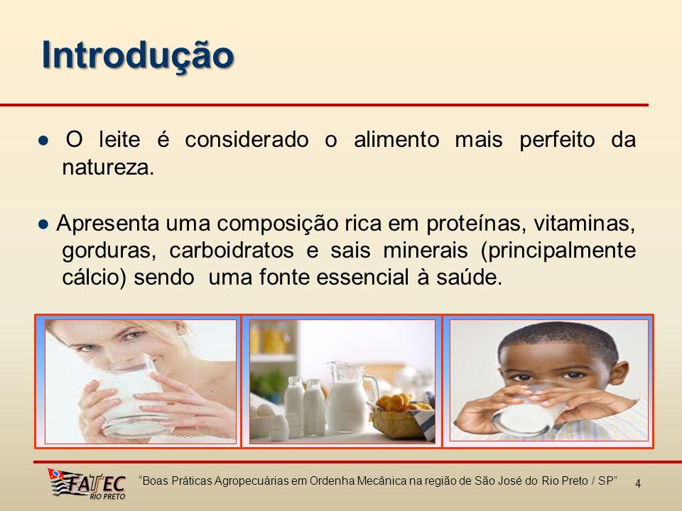 4 O leite é considerado o alimento mais perfeito da natureza. Apresenta uma composição rica em proteínas, vitaminas, gorduras, carboidratos e sais min