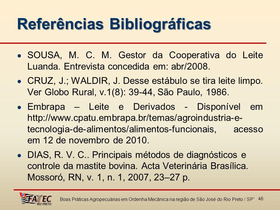 Referências Bibliográficas SOUSA, M. C. M. Gestor da Cooperativa do Leite Luanda. Entrevista concedida em: abr/2008. CRUZ, J.; WALDIR, J. Desse estábu