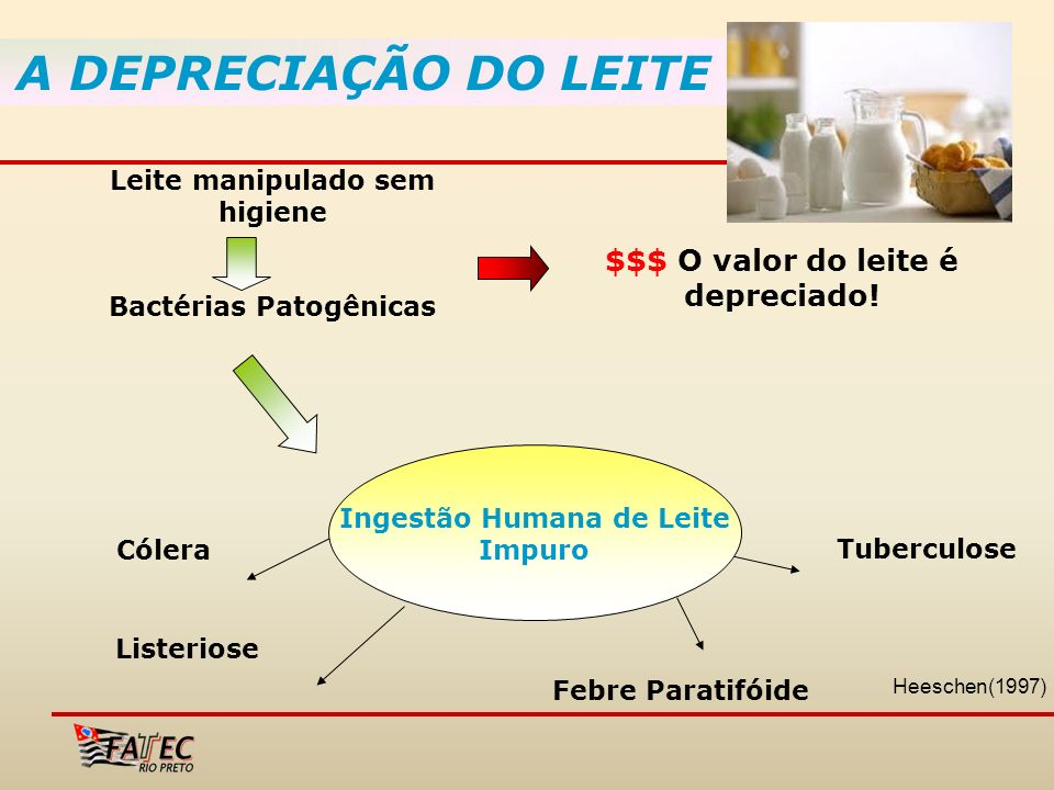 A DEPRECIAÇÃO DO LEITE $$$ O valor do leite é depreciado! Leite manipulado sem higiene Bactérias Patogênicas Ingestão Humana de Leite Impuro Cólera Li
