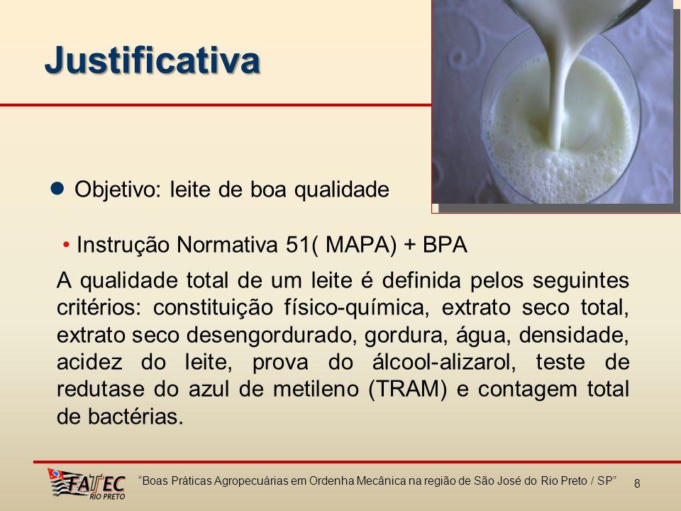 9 Objetivo Geral Verificar o índice de conformidade no uso da ordenha mecânica em propriedades de leite da região de São José do Rio Preto e identificar por meio da avaliação da implementação das BPA´s, quais tem sido as barreiras existentes em sua utilização.