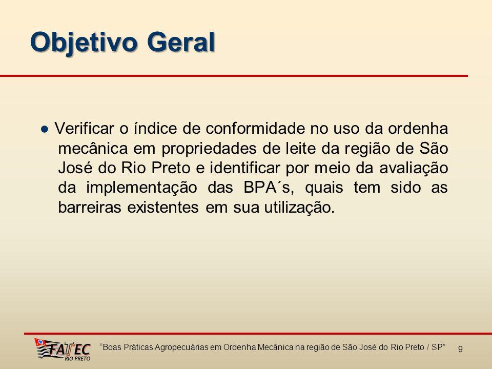 9 Objetivo Geral Verificar o índice de conformidade no uso da ordenha mecânica em propriedades de leite da região de São José do Rio Preto e identific