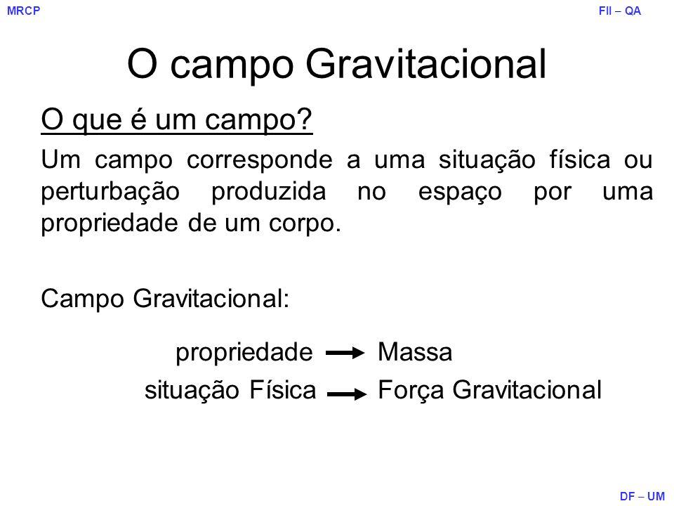 FII – QA DF – UM MRCP O campo Gravitacional O que é um campo? Um campo corresponde a uma situação física ou perturbação produzida no espaço por uma pr