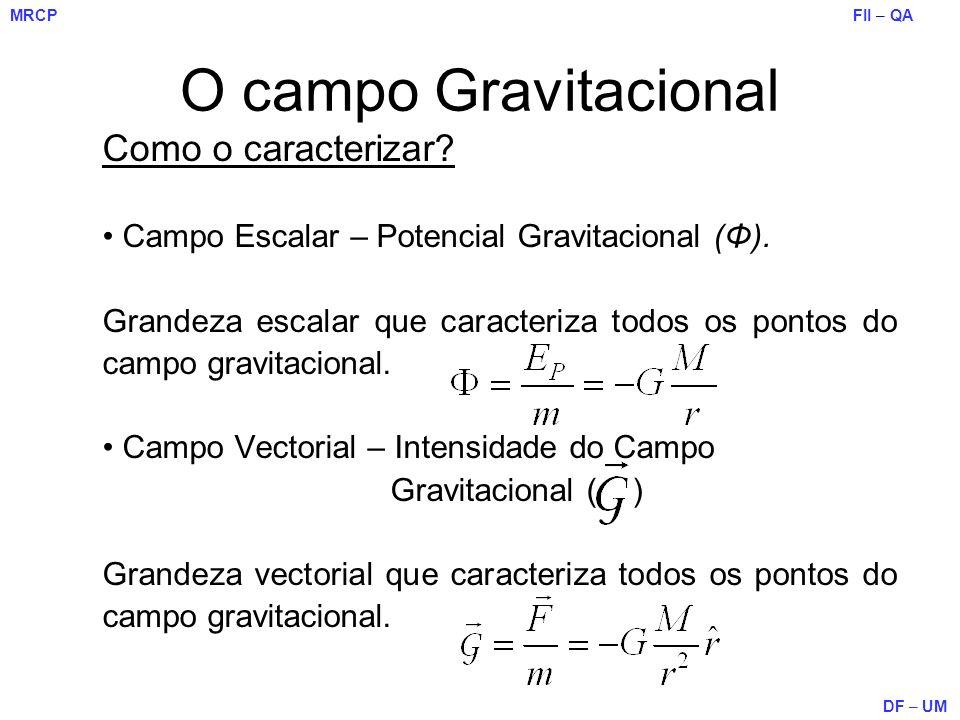 FII – QA DF – UM MRCP O campo Gravitacional Como o caracterizar? Campo Escalar – Potencial Gravitacional (Φ). Grandeza escalar que caracteriza todos o