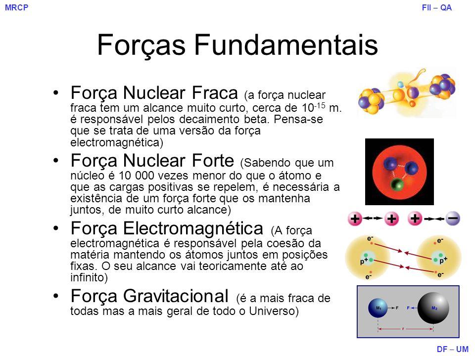 FII – QA DF – UM MRCP Forças Fundamentais Força Nuclear Fraca (a força nuclear fraca tem um alcance muito curto, cerca de 10 -15 m. é responsável pelo