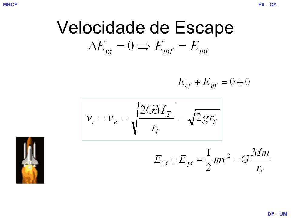 FII – QA DF – UM MRCP Velocidade de Escape