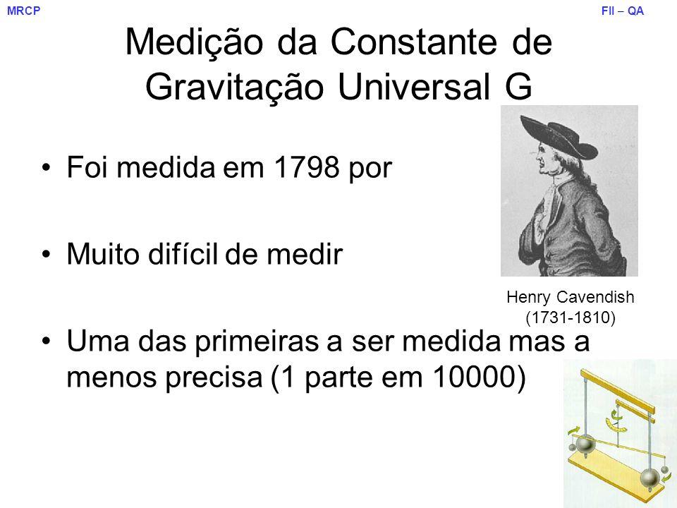FII – QA DF – UM MRCP Medição da Constante de Gravitação Universal G Foi medida em 1798 por Muito difícil de medir Uma das primeiras a ser medida mas