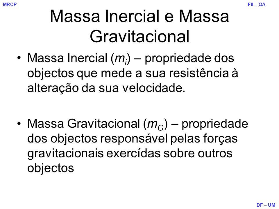 FII – QA DF – UM MRCP Massa Inercial e Massa Gravitacional Massa Inercial (m i ) – propriedade dos objectos que mede a sua resistência à alteração da