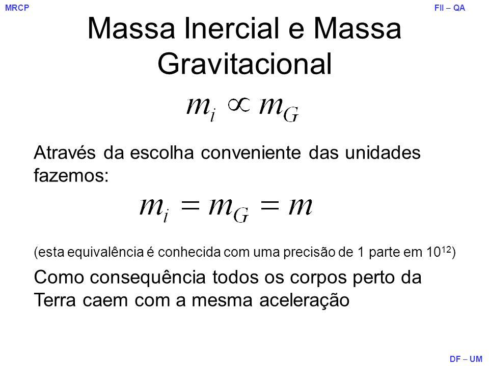 FII – QA DF – UM MRCP Massa Inercial e Massa Gravitacional Através da escolha conveniente das unidades fazemos: (esta equivalência é conhecida com uma