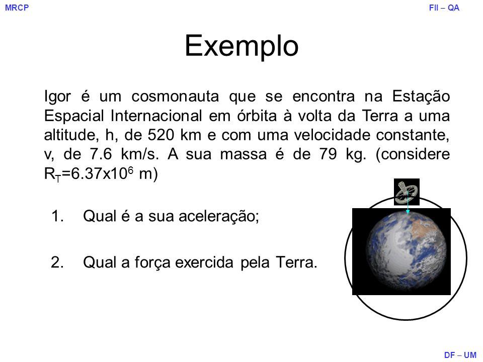 FII – QA DF – UM MRCP 1.Qual é a sua aceleração; 2.Qual a força exercida pela Terra. Exemplo Igor é um cosmonauta que se encontra na Estação Espacial