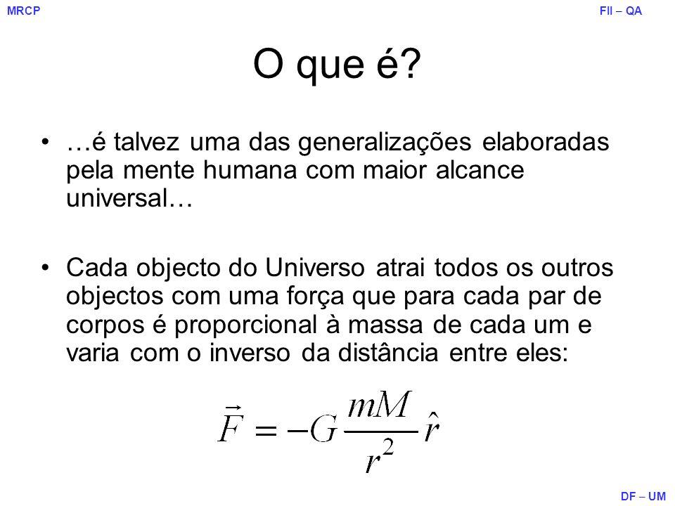 FII – QA DF – UM MRCP O que é? …é talvez uma das generalizações elaboradas pela mente humana com maior alcance universal… Cada objecto do Universo atr