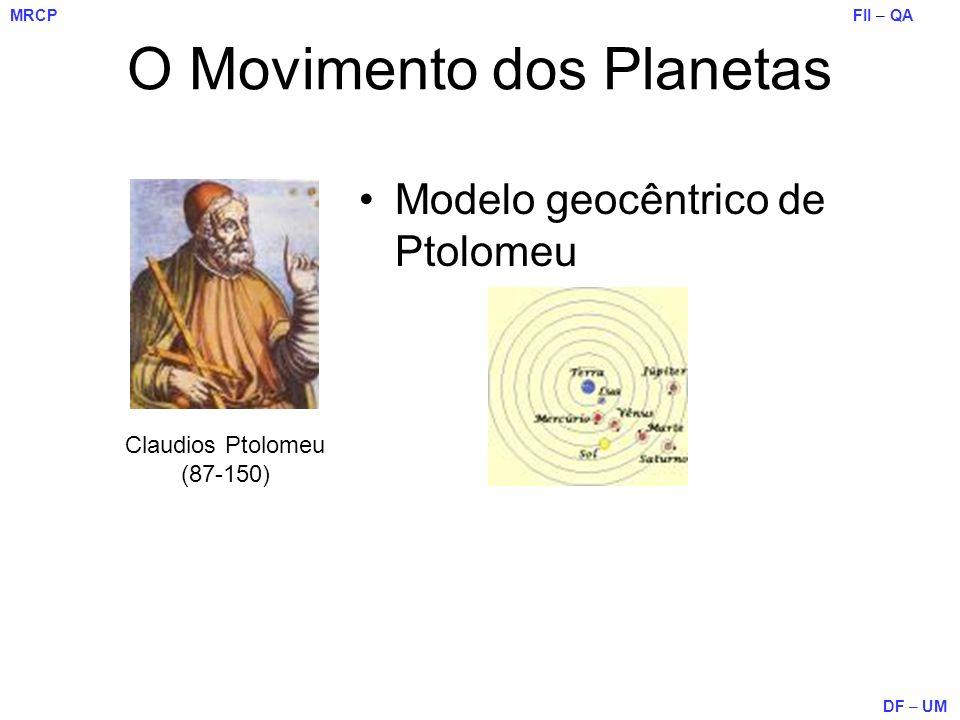 FII – QA DF – UM MRCP O Movimento dos Planetas Modelo geocêntrico de Ptolomeu Claudios Ptolomeu (87-150)