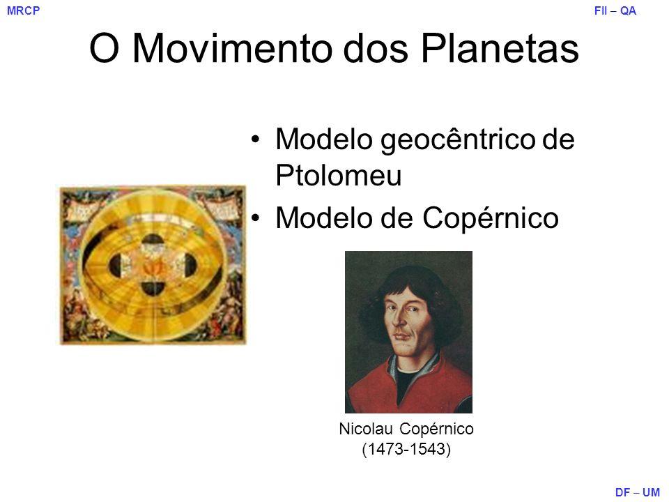 FII – QA DF – UM MRCP O Movimento dos Planetas Modelo geocêntrico de Ptolomeu Modelo de Copérnico Nicolau Copérnico (1473-1543)