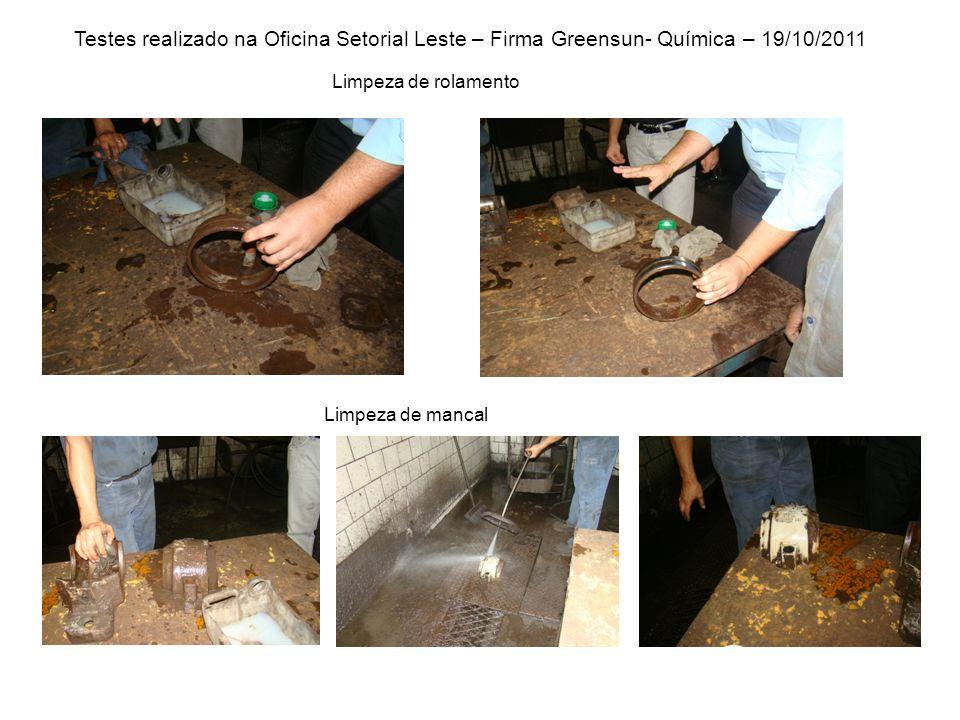 Testes realizado na Oficina Setorial Leste – Firma Greensun- Química – 19/10/2011 Limpeza de rolamento Limpeza de mancal