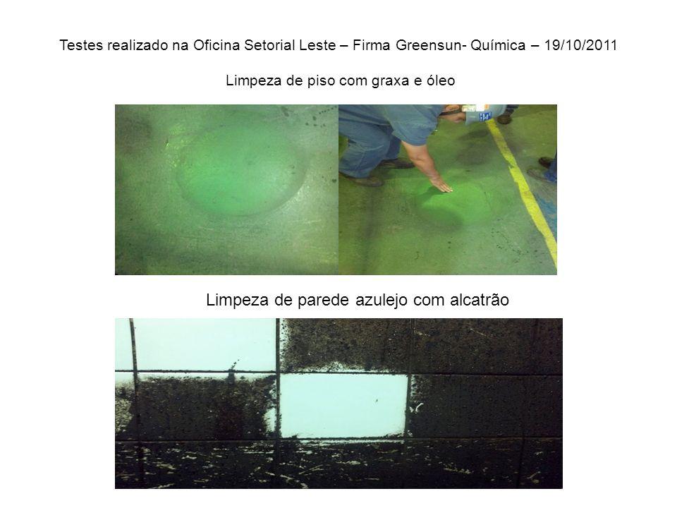 Testes realizado na Oficina Setorial Leste – Firma Greensun- Química – 19/10/2011 Limpeza de piso com graxa e óleo Limpeza de parede azulejo com alcatrão