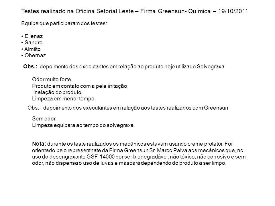 Testes realizado na Oficina Setorial Leste – Firma Greensun- Química – 19/10/2011 Equipe que participaram dos testes: Elienaz Sandro Almilto Obernaz O