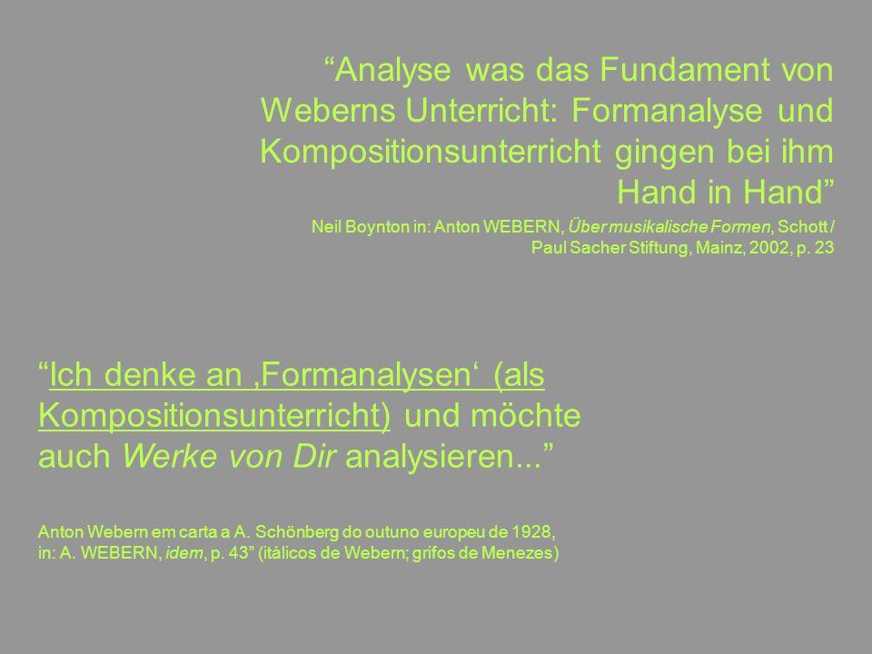 17 Analyse was das Fundament von Weberns Unterricht: Formanalyse und Kompositionsunterricht gingen bei ihm Hand in Hand Neil Boynton in: Anton WEBERN,