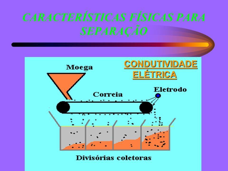 CARACTERÍSTICAS FÍSICAS PARA SEPARAÇÃO CONDUTIVIDADE ELÉTRICA